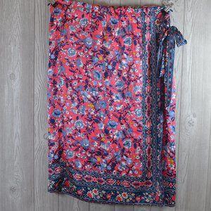 Loft Silky Faux Wrap skirt Pink  PLUS SIZE 14